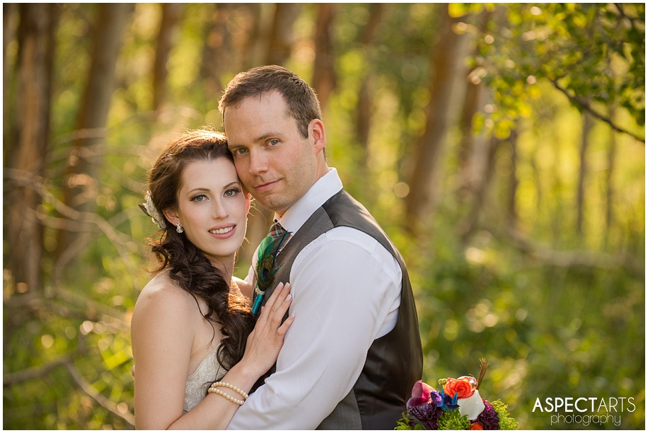Kamloops ranch wedding photographer beautiful light in the forest