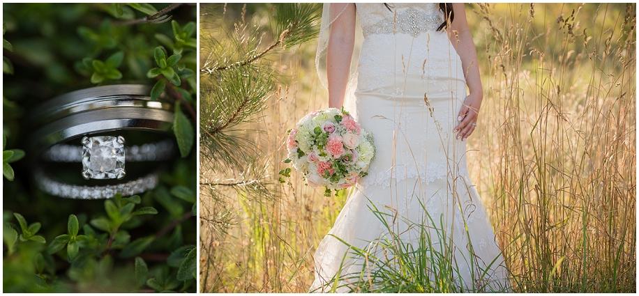 Quaaout Lodge Wedding photographer detail shots rings dress bouquet