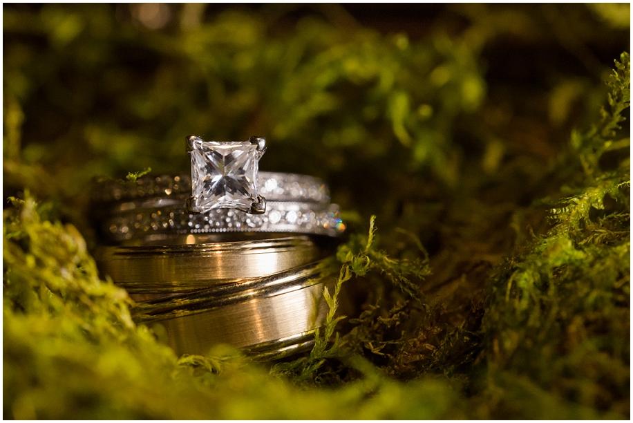 Okanagan Wedding photographer detail shots rings in moss macro