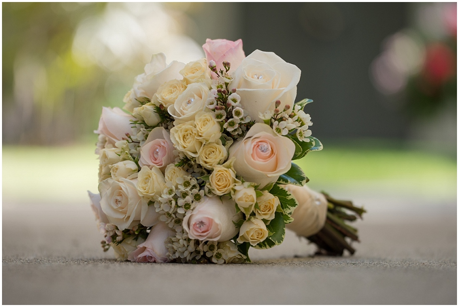 Kamloops Wedding photographer detail shots bouquet Roses blush yellow white