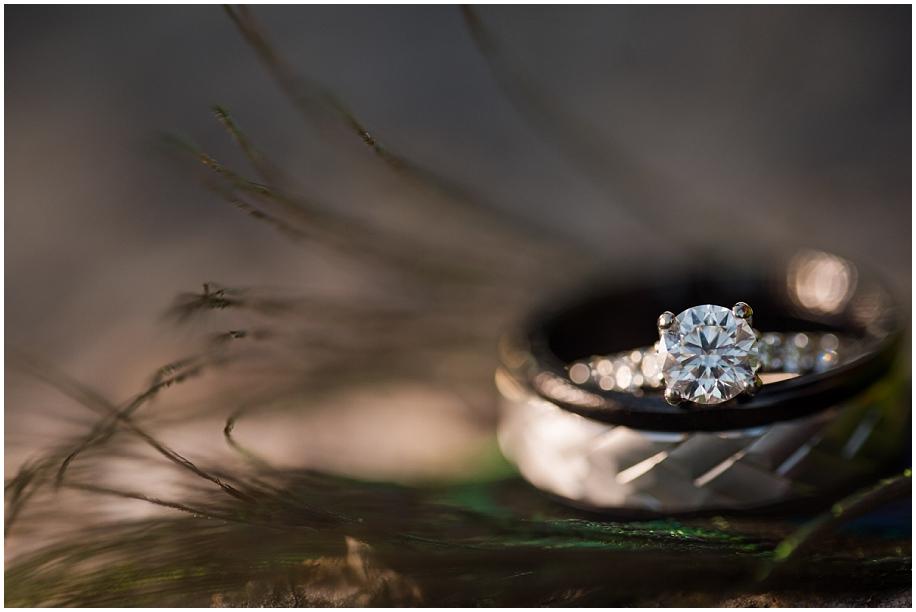 Kelowna Okanagan wedding photographer detail macro rings peacock feather