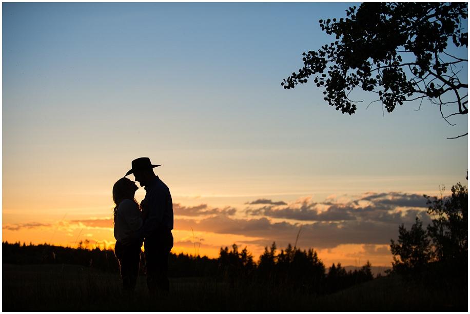 Okanagan engagement photographer sunset silhouette