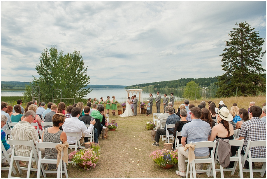 Horse Lake 100 Mile House Lakeside Outdoor Wedding Venue Grey Green Rustic DIY BC Photographer