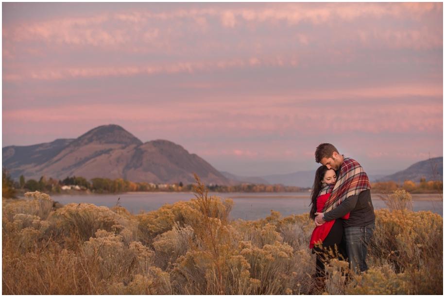 Kamloops Lake engagement photographer golden hour sunset skies romance