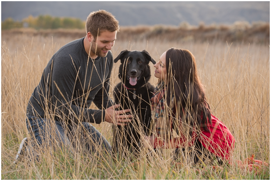 puppy love engagement session with the fur baby field golden hour grass