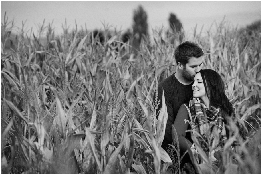 Kamloops engagement photographer golden hour corn field black and white