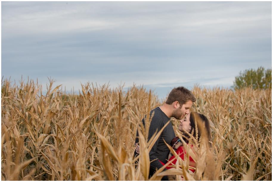 Kamloops engagement photographer golden hour romantic session corn field blue sky