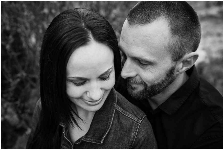BC photographer Harper Mountain engagement session black and white portrait
