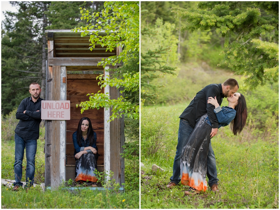 Kamloops wedding photographer Harper Mountain engagement session bride groom funny shot dip kiss