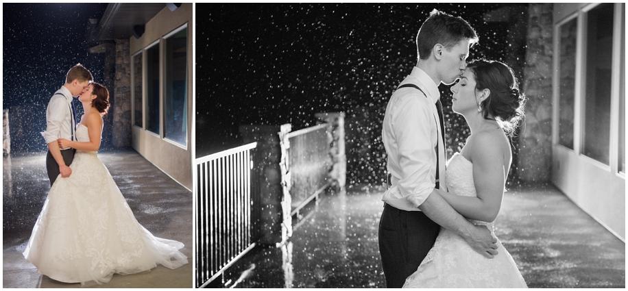 BC Okanagan wedding photographer The Dunes rain portrait night bride groom romantic