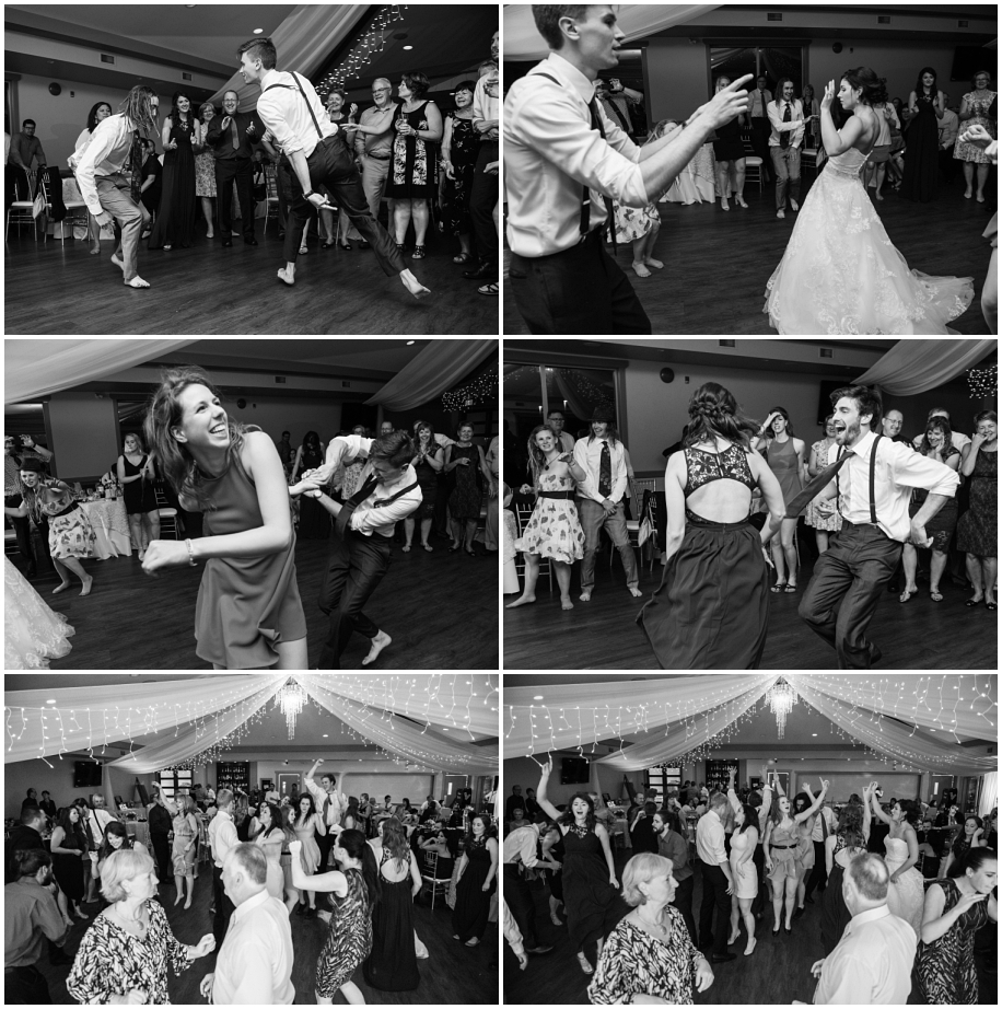 Kamloops wedding photographer The Dunes reception party dancing black and white