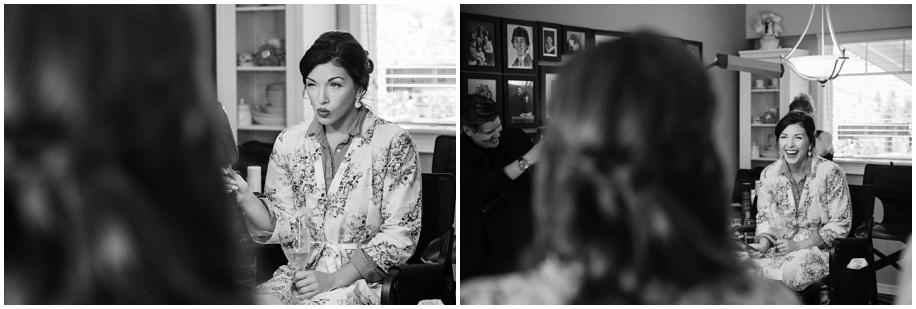 Kamloops documentary wedding photographer bride preparations makeup black white