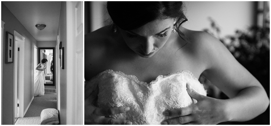 British Columbia wedding photographer bride preparations dress black white window light
