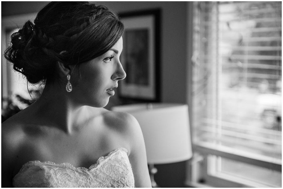British Columbia wedding photographer bridal portrait black white natural window light