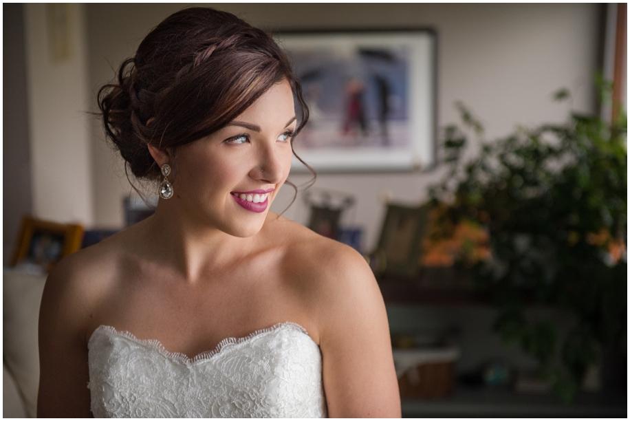 British Columbia wedding photographer bridal portrait natural window light