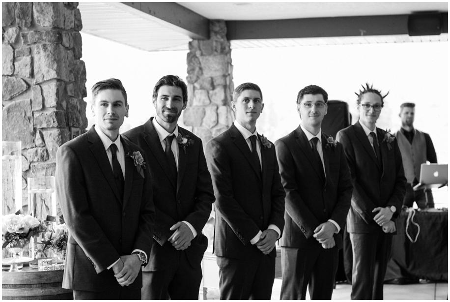 BC Interior wedding The Dunes Kamloops ceremony rain groom black white