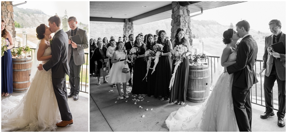 BC Interior wedding photographer The Dunes Kamloops ceremony first kiss