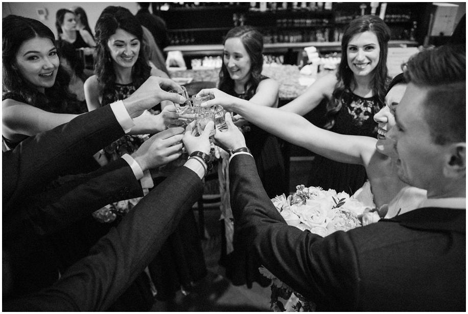 BC Interior wedding photographer The Dunes Kamloops bridal party toast