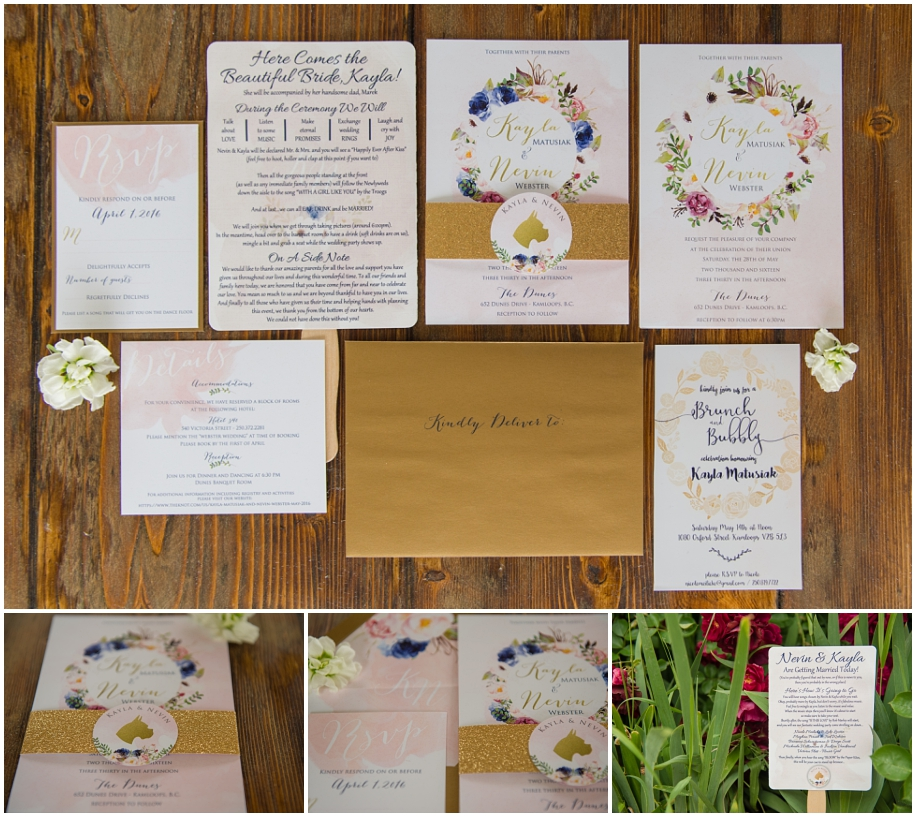 Kamloops wedding photography stationery suite invitation details