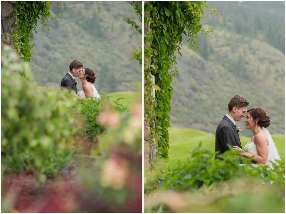 Kamloops Thompson Okanagan wedding photographer The Dunes bridal portraits rain bride groom ivy gardens