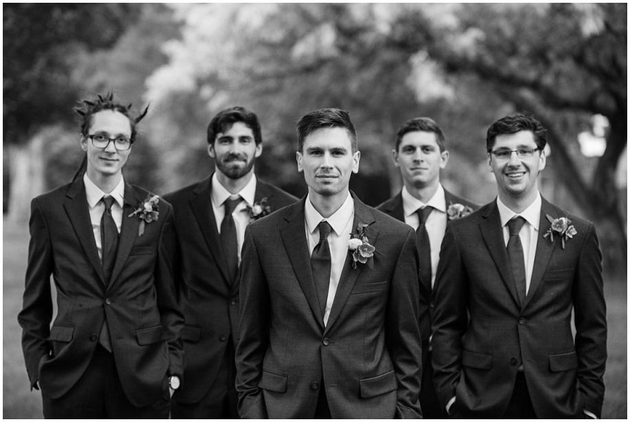 Kamloops wedding photography  bridal party portraits rain Thompson Okanagan photographer groomsmen black and white