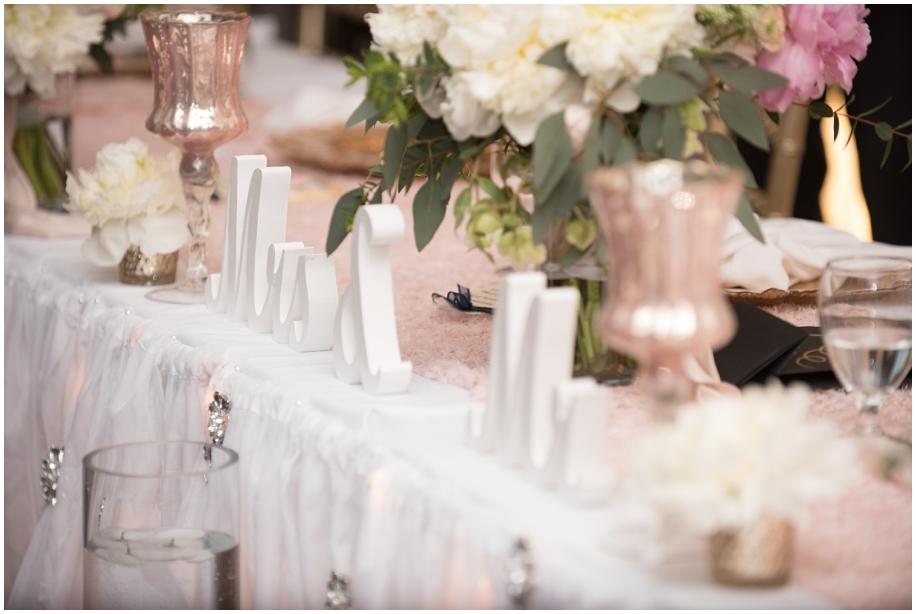 Thompson Okanagan lavish wedding decor blush and gold bling The Dunes Golf Course reception