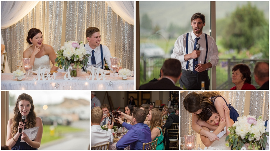Kamloops documentary wedding photographer speeches The Dunes Golf Course reception