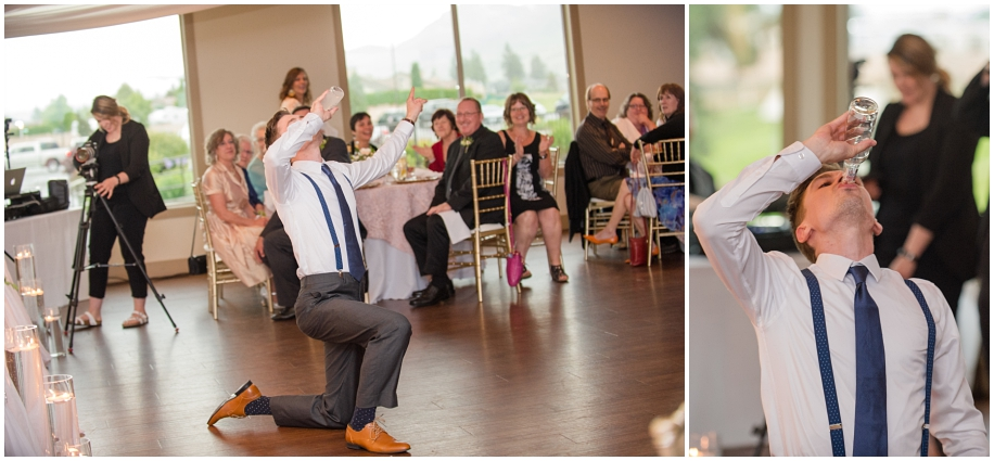 Kamloops documentary wedding photographer The Dunes Golf Course reception groom iced