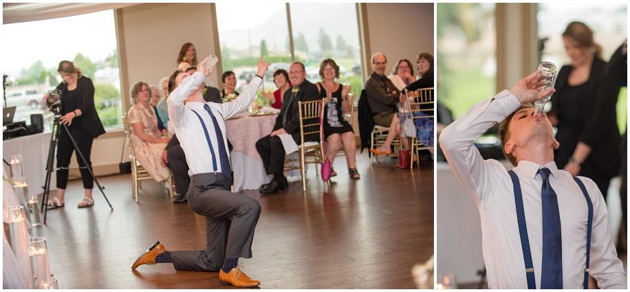 Kamloops documentary wedding photographer The Dunes Golf Course reception groom iced