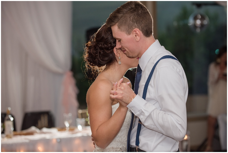 Kamloops documentary wedding photographer  first dance lighting The Dunes Golf Course reception