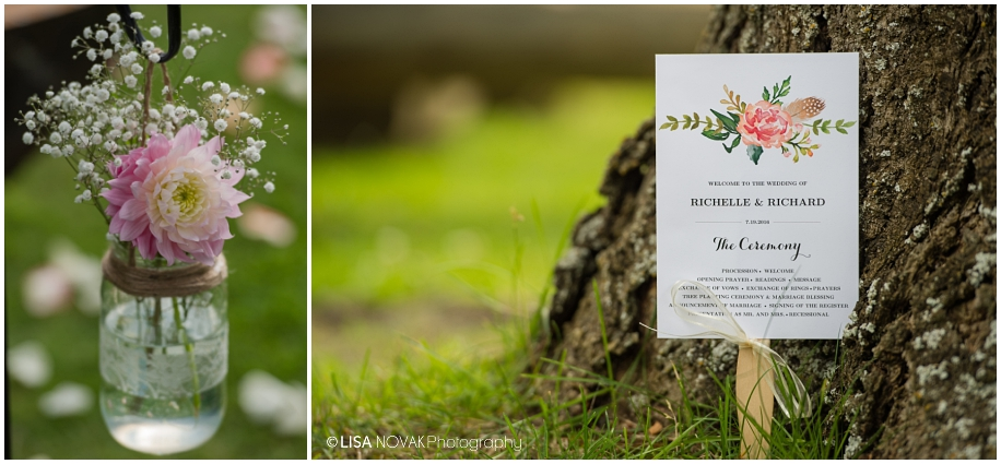 Outdoor Shuswap Lake Summer wedding Quaaout Lodge peach dahlia stationery suite ceremony floral hand lettered