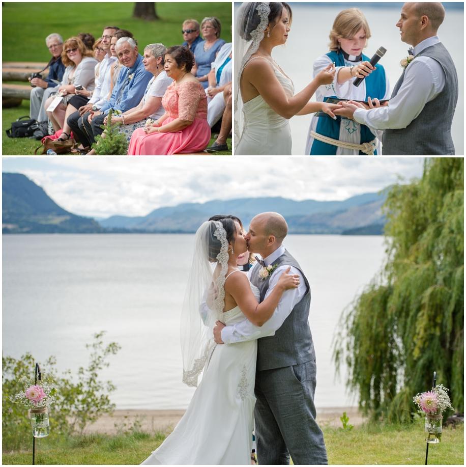 Outdoor Shuswap Lake Summer wedding Quaaout Lodge peach gray first kiss