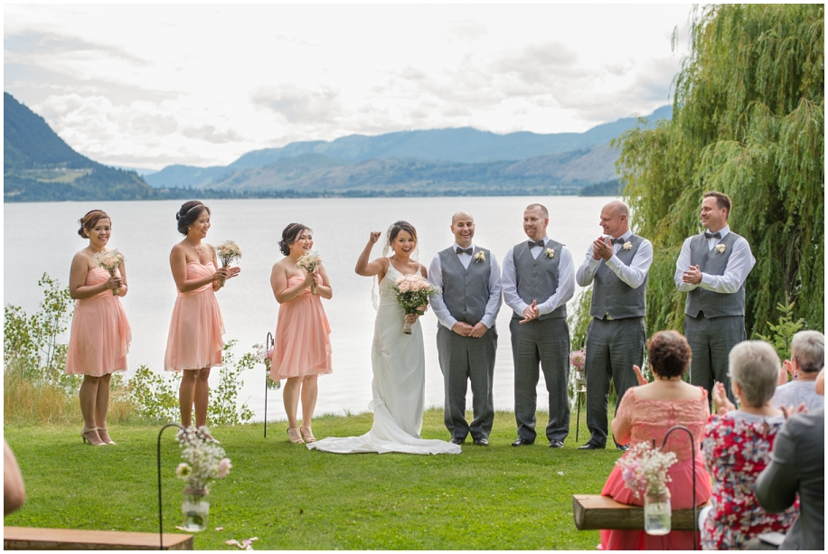 Shuswap Lake Summer wedding Quaaout Lodge peach gray bowties roses lace Okanagan photographer