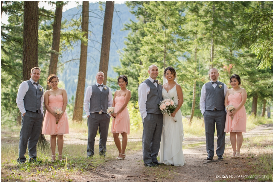 Shuswap Lake Summer wedding Quaaout Lodge bridal party photos forest path