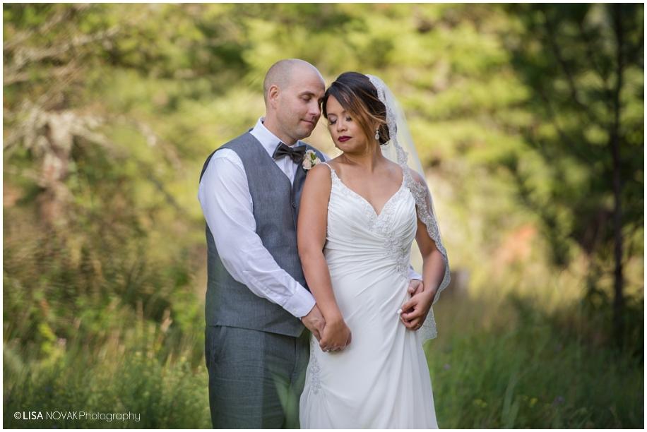 romantic outdoor bridal portait bride groom Shuswap Lake Summer wedding Quaaout Lodge peach gray bowtie roses