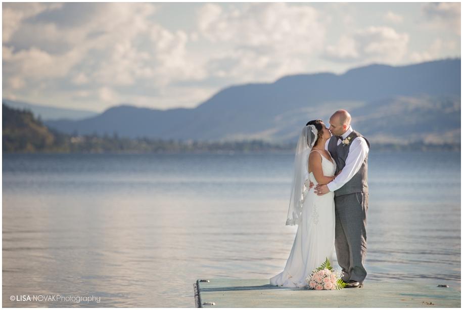 Beautiful Shuswap Lake wedding romantic portrait on the dock sunshine