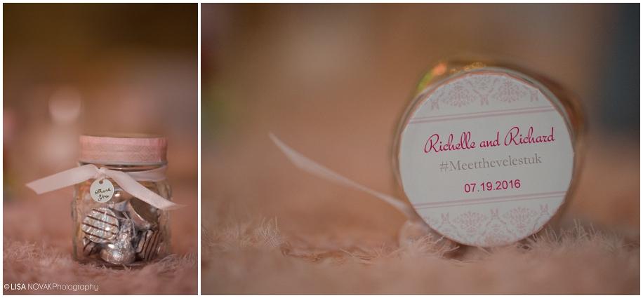 Beautiful Shuswap Lake wedding BC wedding photographer reception peach details Quaaout Lodgefavors hersheys kisses bottle thank you