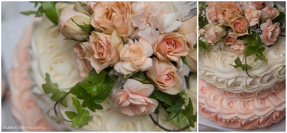 Beautiful Shuswap Lake wedding BC wedding photographer reception details cake artist peach roses