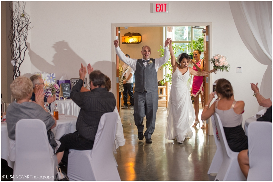 Beautiful Shuswap Lake wedding reception bride groom grand entrance