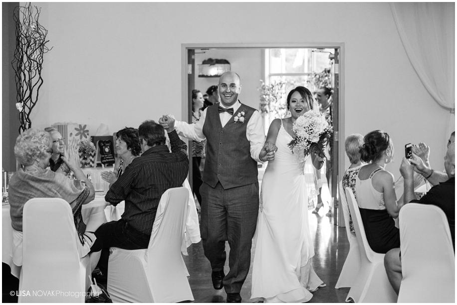 BC photographer wedding reception Quaaout Lodge bride groom grand entrance
