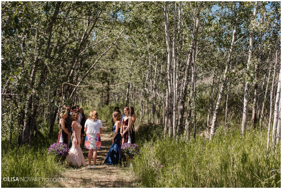 BC interior outdoor wedding beautiful bride same sex summer ceremony intimate forest