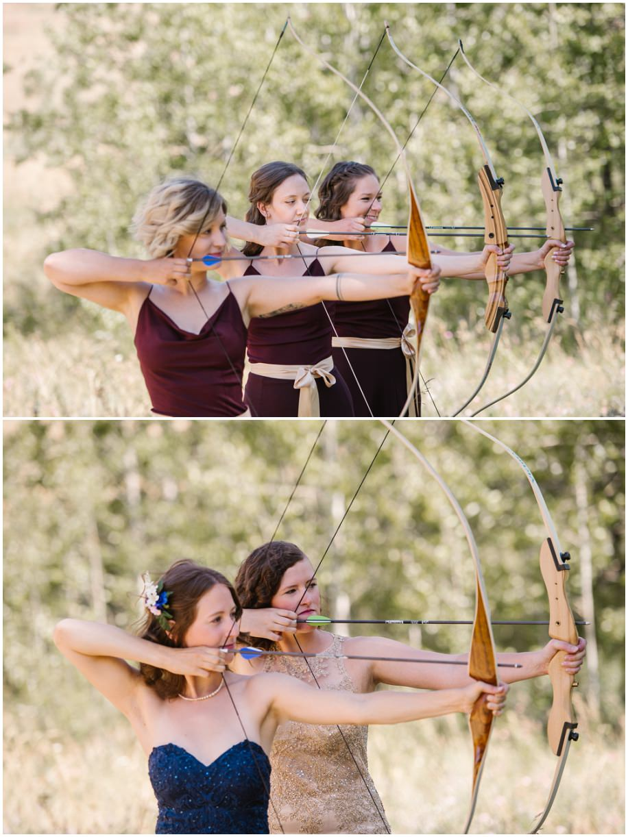 BC forest wedding purple blue bridal party photos archery bow arrow bride bridesmaids wood nymphs