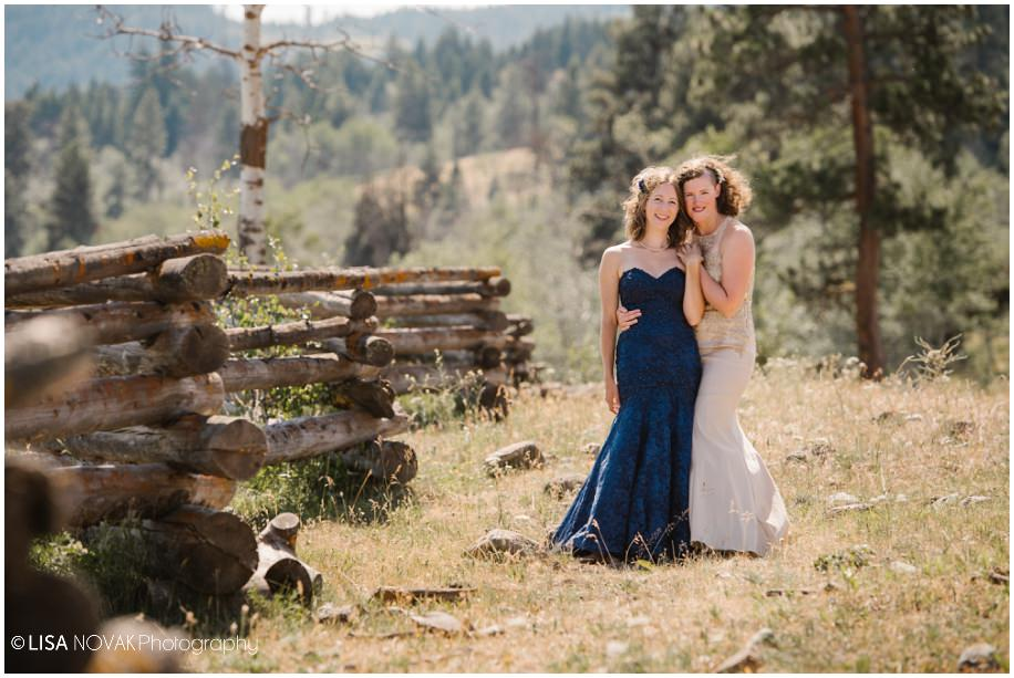 BC Nicola Valley summer wedding old fence bridal portraits pose same sex Canada ranchand mountains