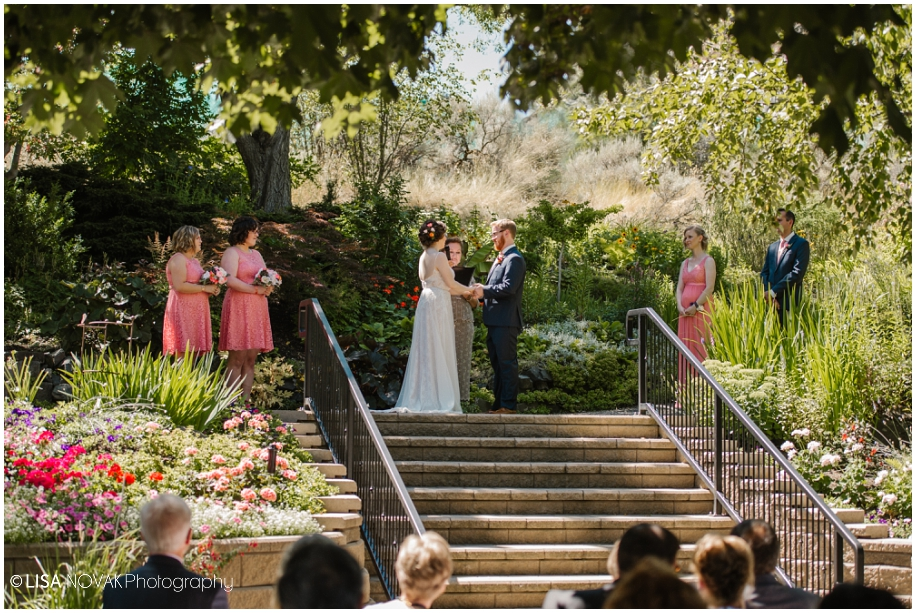 outdoor summer wedding sunshine TRU Kamloops BC vintage chic Horticulture gardens ceremony