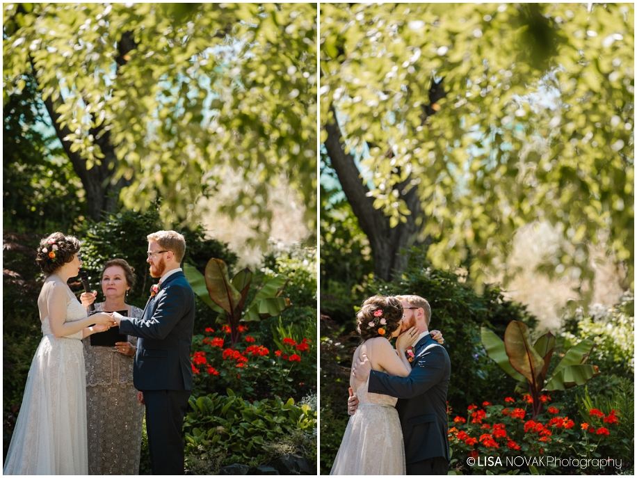 outdoor summer wedding sunshine TRU Kamloops BC vintage chic Horticulture gardens ceremony first kiss