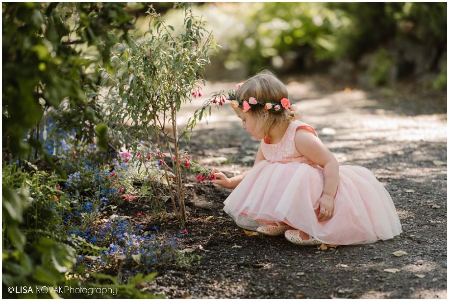 outdoor summer wedding sunshine TRU Kamloops BC vintage chic Horticulture gardens ceremony flower girl