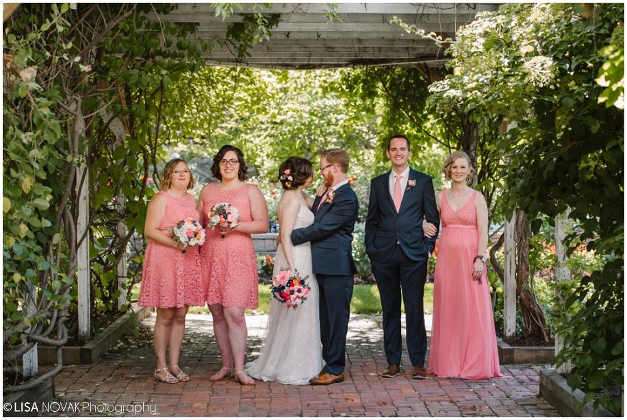 outdoor summer wedding sunshine TRU Kamloops BC vintage chic Horticulture gardens ceremony bridal party