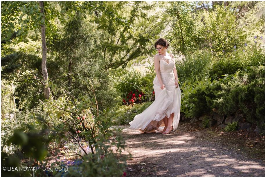 outdoor summer wedding sunshine TRU Kamloops BC vintage chic Horticulture gardens ceremony bridal portrait dress