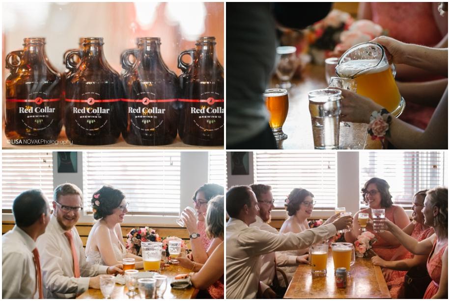 Red Collar Brewing brewery outdoor summer wedding sunshine TRU Kamloops BC vintage chic bridal party fun