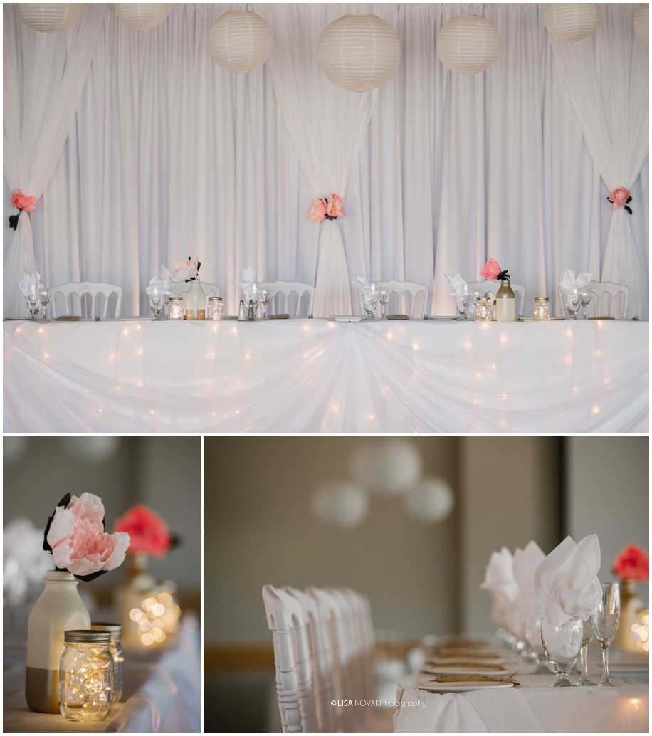 summer wedding TRU Kamloops BC vintage chic reception First Comes Love decor Hunter Thistle paper flowers